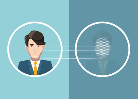 Man face scan identification, flat concept illustration