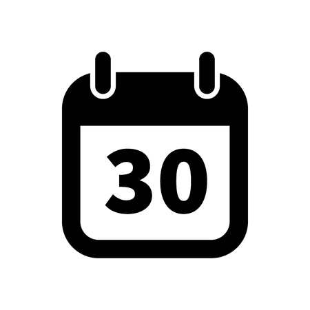 Simple black calendar icon with 30 date on white Illustration