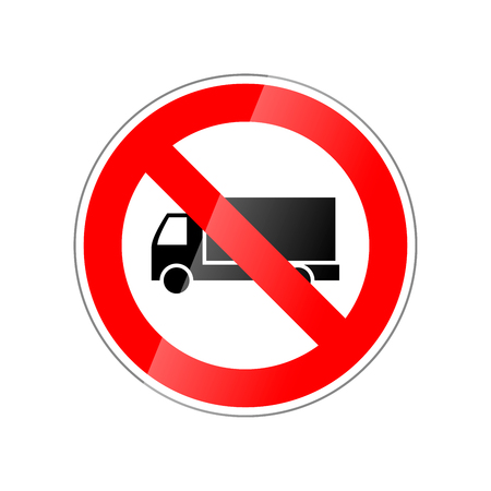 restricted area sign: Trucks not allowed, forbidden red glossy sign isolated on white