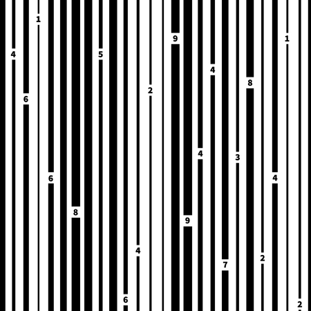 Black and white barcode on white, seamless pattern.