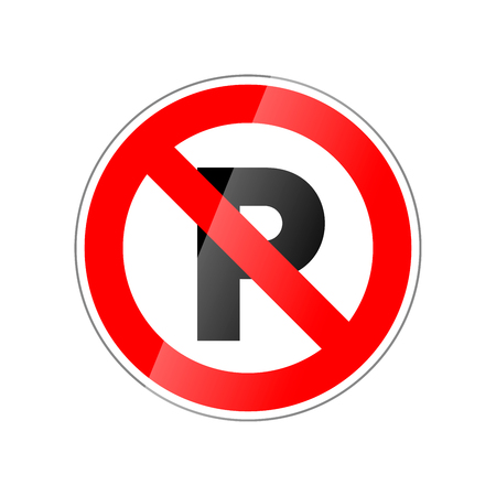 Parking not allowed, forbidden red glossy sign isolated on white background. Stock Vector - 89510095