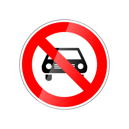No cars allowed, forbidden red glossy sign isolated on white background.