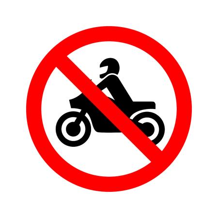 Geen motorfiets verboden teken geïsoleerd op wit Stock Illustratie