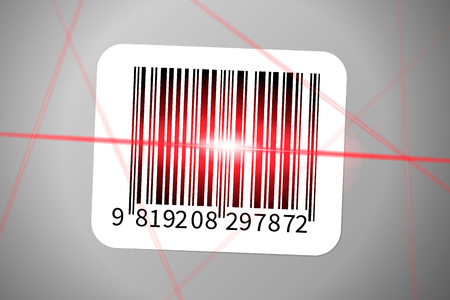 Realistic bar code sticker with bright red rays of bar code reader.