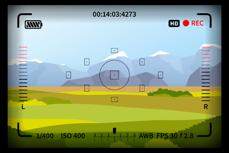 Landscape with reflex photo camera viewfinder marks