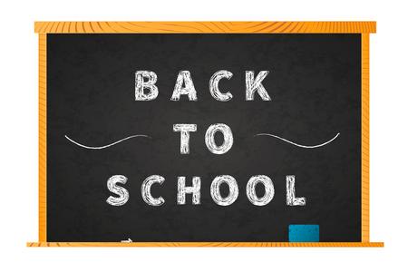 Back to school chalk lettering on blackboard in black background