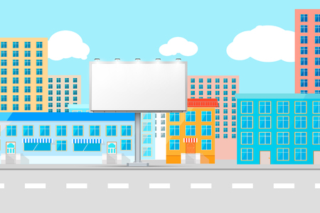 City view with white empty billboard template