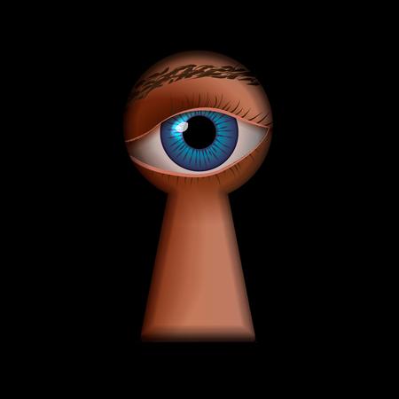 Keyhole shape with human eye behind, spy concept illustration