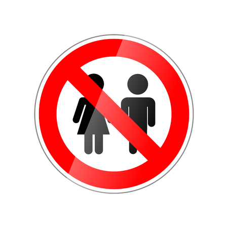 Children not allowed, forbidden red glossy sign on white background.