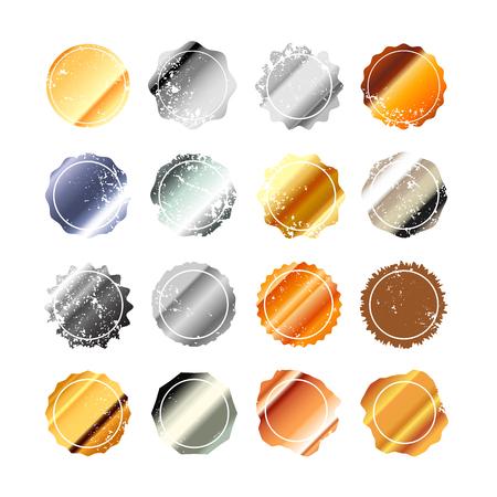 Set of shiny metallic different retro blank labels on white background.