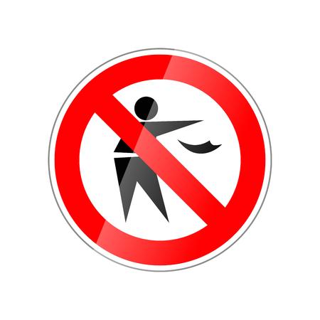 No tire basura, prohibido signo brillante rojo aislado en blanco Foto de archivo - 91414709