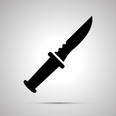Knife silhouette, simple black icon with shadow.