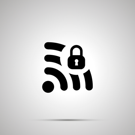 Safe WIFI signal silhouette, simple black icon with shadow.