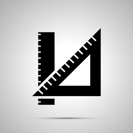 School ruler silhouette, simple black icon Иллюстрация