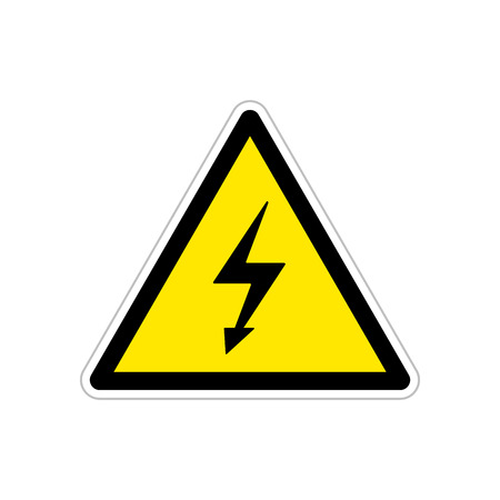 High voltage, bright triangle yellow warning sign
