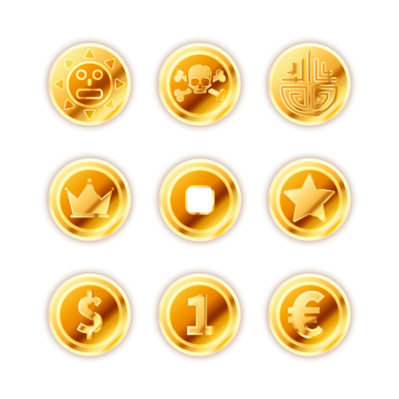 Large set of bright ancient gold coins isolated on white background.