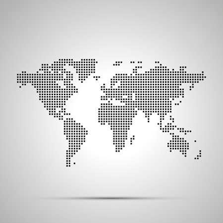Simple world map pixelated silhouette with shadow. Ilustrace