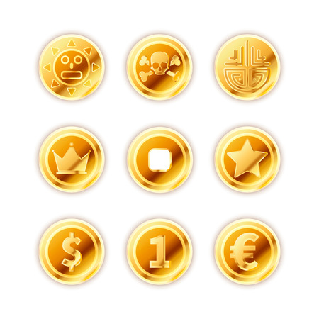 Large set of bright ancient gold coins isolated on white. Illustration