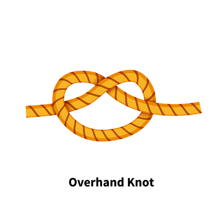 Overhand sea knot bright colorful how to guide isolated on white background.