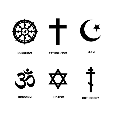 Set Of Main Symbols Of Most Common Religions Isolated On White