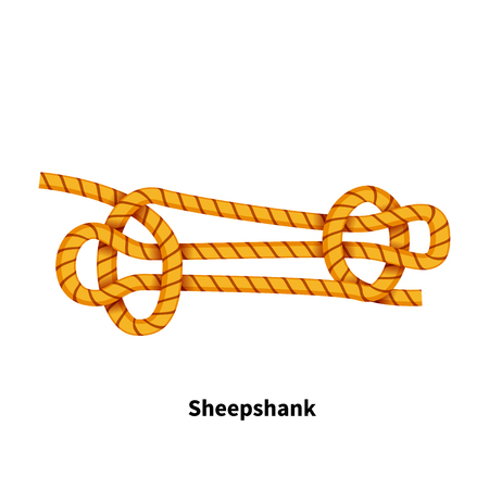Sheepshank rope with a knot isolated on a white background Ilustrace