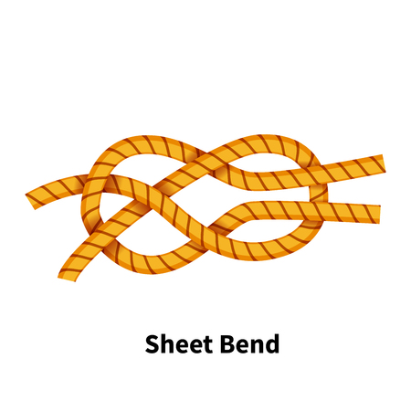 Sheet bend sea knot, bright colorful how-to guide isolated on white background. Vettoriali