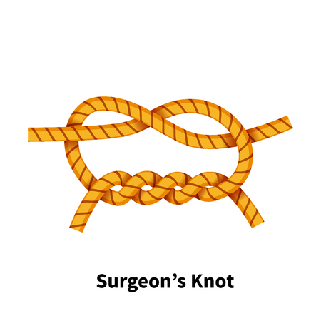 Surgeons sea knot bright colorful how to guide isolated on white background.