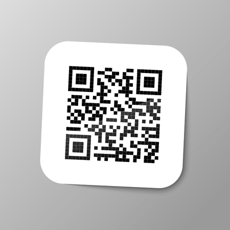 Typical realistic QR bar code sticker with shadow on gray background. Illustration