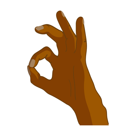 Cartoon black hand in okay gesture isolated on white background. Illustration