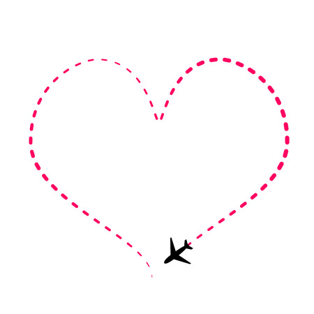 Airline route in pink heart shape with plane icon