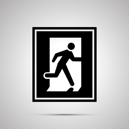 Fire exit pictogram, simple black icon with shadow