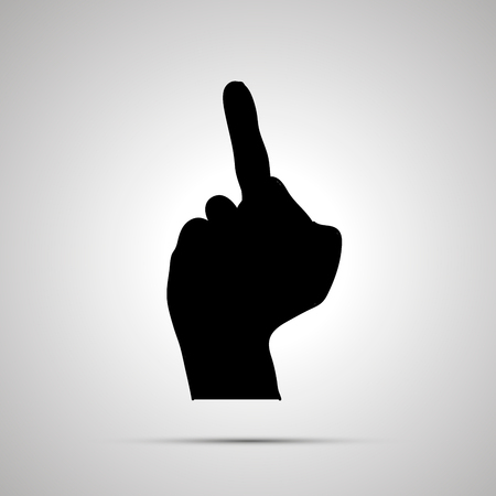 Black silhouette of hand in middle finger gesture isolated on gray background Illustration