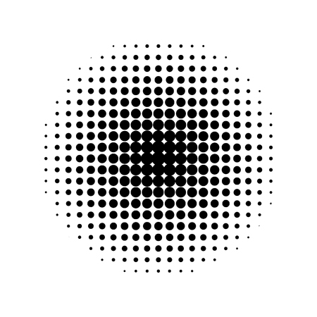 Round halftone screen pattern isolated on white background.