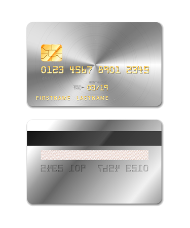 Platinum realistic credit card from both sides isolated on white