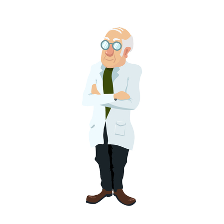 Cute cartoon scientist character in glasses isolated on white