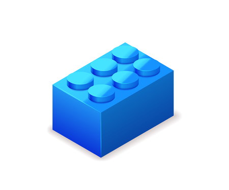 Bright colorful blue lego brick in isometric view isolated on white