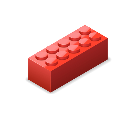 Bright colorful red brick in isometric view isolated on white