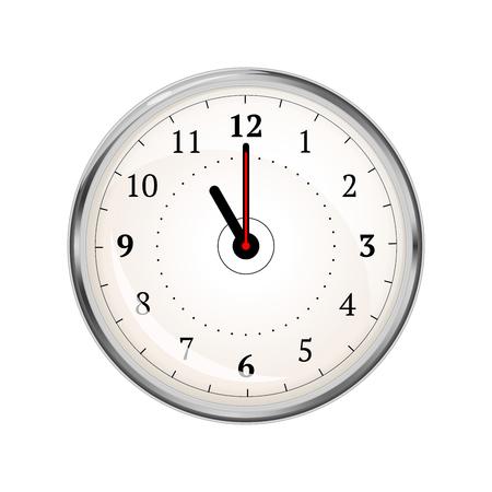 Realistyczna tarcza zegara pokazująca 11-00 na białym tle