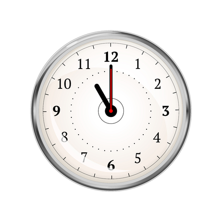 Realistic clock face showing 11-00 isolated on white