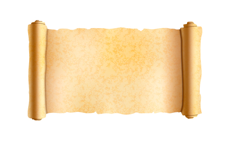 Old textured wide papyrus scroll isolated on white