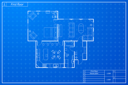 Architecture sketch of house with furniture in blueprint plan style.