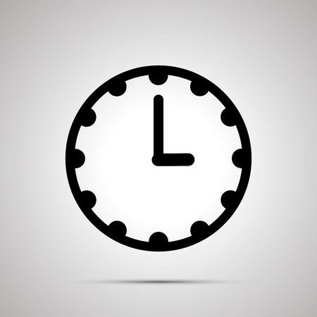 Clock face showing 3-00, simple black icon isolated on white background.