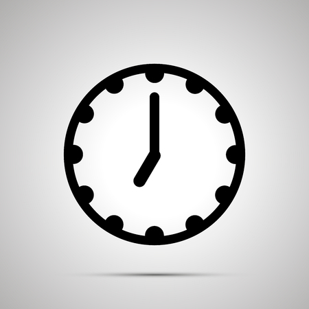 Clock face showing seven oclock, simple black icon isolated on white