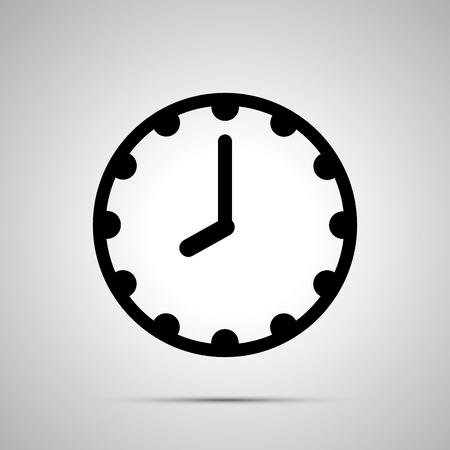 Clock face showing eight oclock, simple black icon isolated on white Ilustração