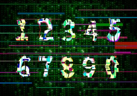 Critical error glitch numbers on green matrix background Ilustração