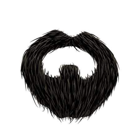 Detailed black mustache and beard isolated on white