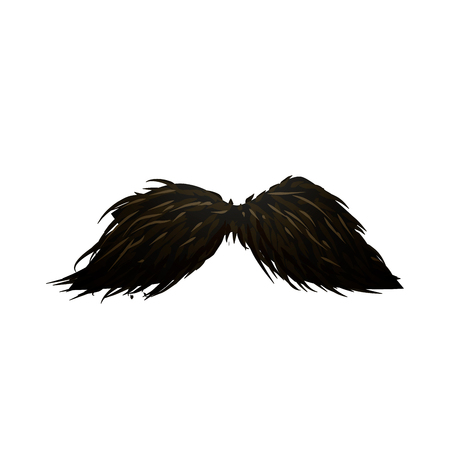 Detailed fancy black hipster mustache isolated on white Banque d'images - 100608924