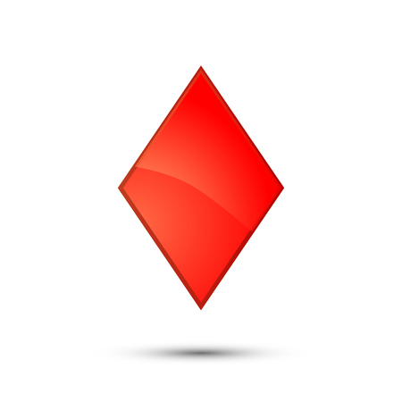 Glossy Red Diamond Card Suit Icon On White Royalty Free Cliparts