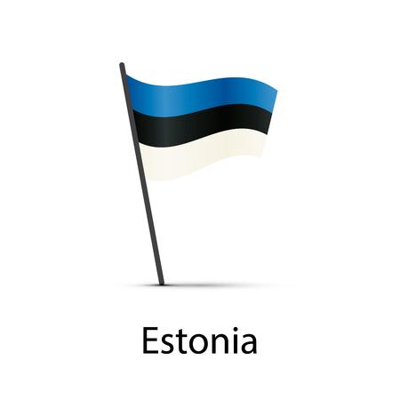 Estonia flag on pole, infographic element on white
