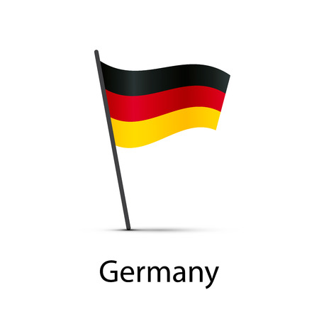 Germany flag on pole, infographic element on white